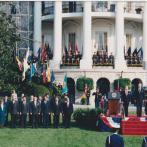 Přijetí Václava Havla George Bushem st. před Bílým domem